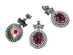 Set of SS Otantic Oval Ruby Hydro Genuine Semi-Precious Gemstone