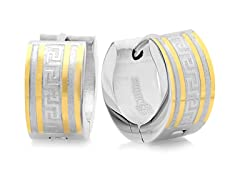Two-tone 18kt Plated Huggie w/ Accent