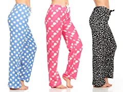 Daresay Women's Fleece PJ Pants 3-Pack