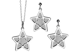 2-Flat Layered Star Earrings & Pendant