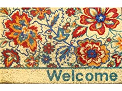 Floral Welcome Weather-Resistant Outdoor Coir Doormat