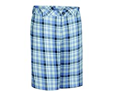 Madras Plaid Flat Shorts - Bleached Denim