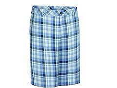 Madras Plaid Flat Shorts - Bleached Denim