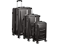 AmazonBasics 3-Pc Hard Shell Luggage Spinner Set