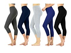 Women's Premium Cotton Capri Leggings 4P