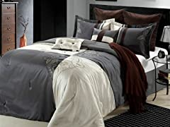 Hipster 8Pc Comforter Set-Beige-2 Sizes