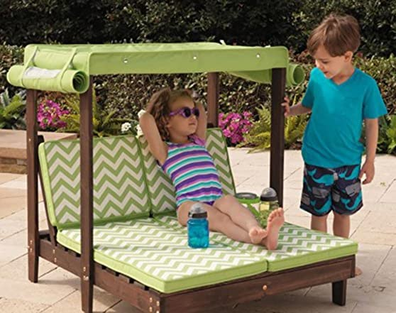 KidKraft Outdoor Double Chaise Lounge with Canopy Kids Woot