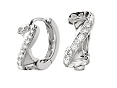 Sterling silver simulated diamond Z huggies