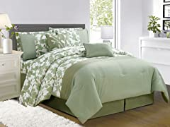 Leila 10Pc Comforter Set-Sage-2 Sizes