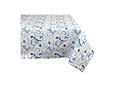 "DII 100% Cotton Holiday Tablecloth,  52"" x 52"", Hanukkah Swirl"