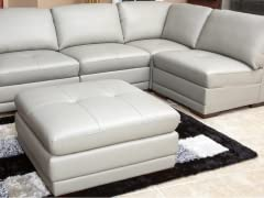 Grey 5-Piece Leather Modular Sectional