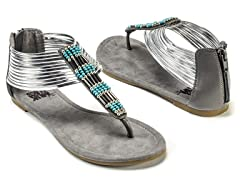 Lola Beaded Sandals, Silver