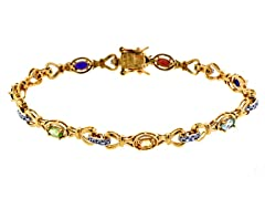 18K Gold-Plated SS Oval Multicolor Genuine Stone Diamond Accent Tennis Bracelet