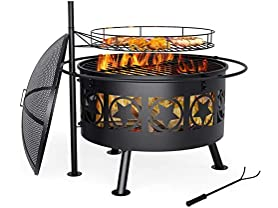 mecor MECO2 2-in-1 30″ Outdoor Fire Pit/Barbecue Grill with Cooking Grate