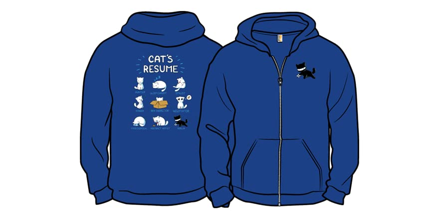 cat s resume zip up hoodie pop woot