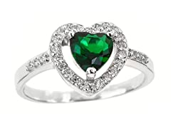 SS Micropave Fancy Green Heart Cut CZ Ring