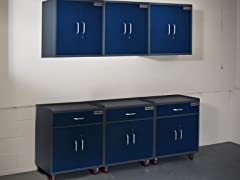 (3) Base, and (3) Wall Steel Cabinet Set