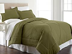 Micro Flannel® Comforter Set-Olive-3 Sizes