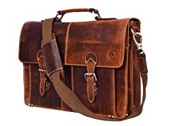 "Aaron Leather 15.5"" Briefcase Messenger Bag"