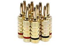 Monoprice 109436 Gold Plated Speaker Banana Plugs