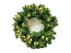 "Nottingham Pine Wreath 24"" Prelit Clear"