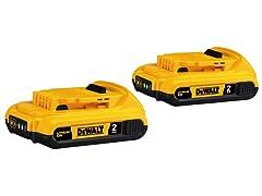 DeWALT 20V MAX Compact 2.0Ah Battery Double Pack