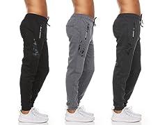 Men's Jogger Pants Zipper Pockets 3 Pack