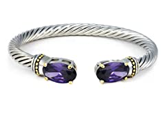 Regal Jewelry 18K Gold-Plated Amethyst Simulated Diamond Bangle