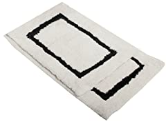 Border Bath Rug-Black-Set of 2