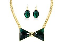 Gold-Plated Green Emerald Bow Fancy Set