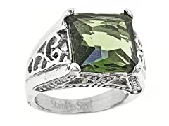 Stainless Steel Green Princess Cut CZ Cutout Ring