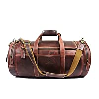 Deals on Aaron Leather Full Grain Leather Travel Duffle Barrel Bag