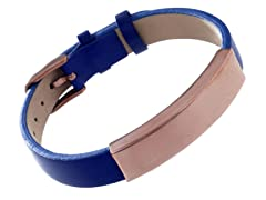 Chocolate Stainless Steel & Genuine Navy Leather Id Bracelet