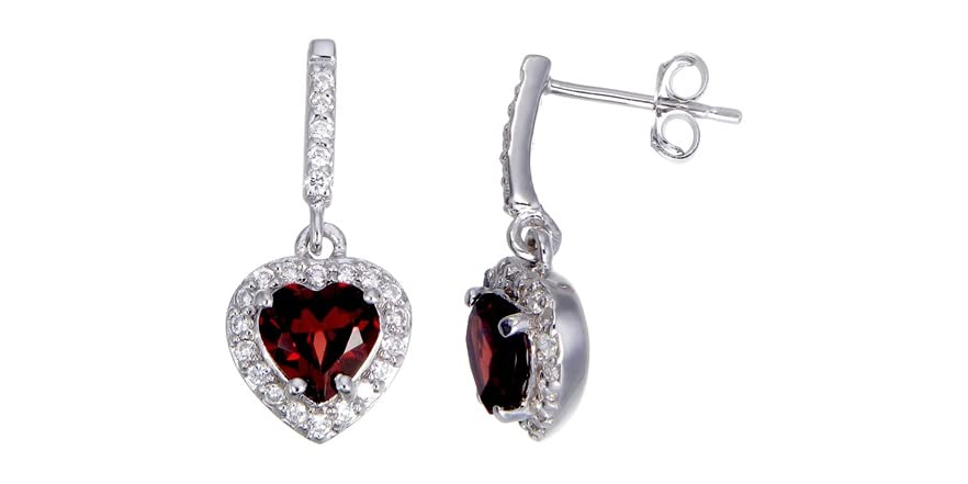 1 35 Ct Sterling Silver Gar  Heart Earrings on factory unlocked iphone 4