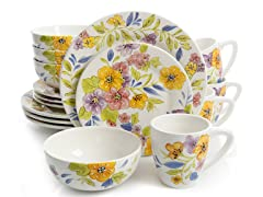 Laurie Gates 16 PC Floral Dinnerware Set