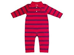 Red & Blue Striped Polo Coverall (6-9M)