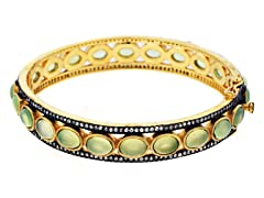 18K Gold-Plated SS Peridot Semi-Precious Gemstone Bangle