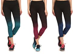Women's Ombre Yoga Capris (3-Pack)