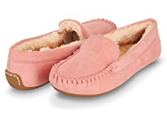Womens Basic Faux Fur Moccasin Slipper, Pink