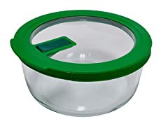 Pyrex No-Leak 4-Cup Round Storage with Green Lid