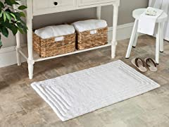 Plush 100% Cotton Bath Mat-White-21x34