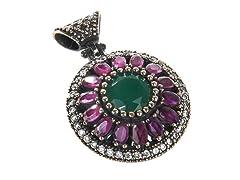 SS Flower Dyed Emerald & Ruby Genuine Semi-Precious Gemstone CZ Pendant
