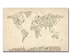 Music Note World Map 18x24 Canvas
