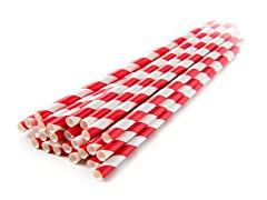 Sip Sip Hooray Paper Straws - Red/Wht, 100ct