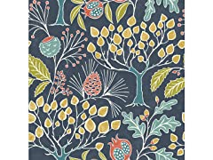 Groovy Garden Navy Peel & Stick Wallpaper