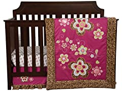 Berry Leopard Crib Bedding Set- 3 Piece