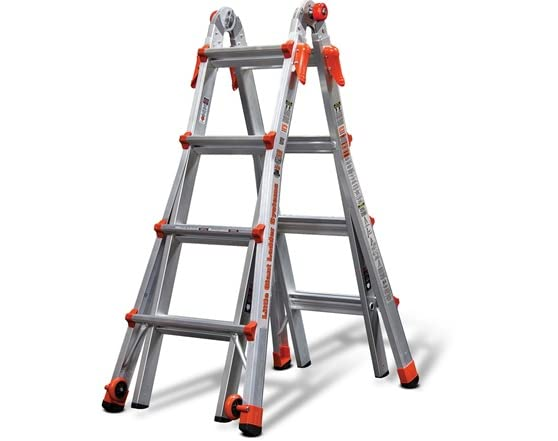 A-Frame Ladder With a simple click of the patented hinge, the Little Giant can be used as a traditional A-Frame ladder.