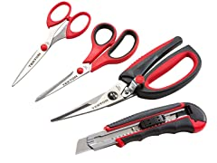 Scissors and Snap-Off Knife Set, 4-Piece