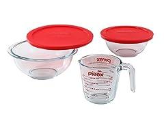 Pyrex Smart Essentials 5-Piece Glass Mixing Bowl Set
