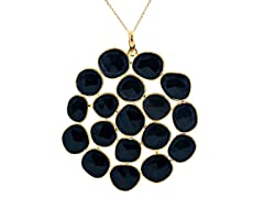 18k Gold Plated SS Black Onyx Necklace